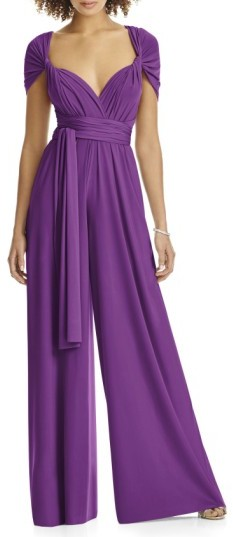 Plus Size Women's Dessy Collection Convertible Wide Leg Jersey Jumpsuit