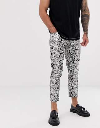 Asos Design DESIGN skinny jeans in leather look snake skin