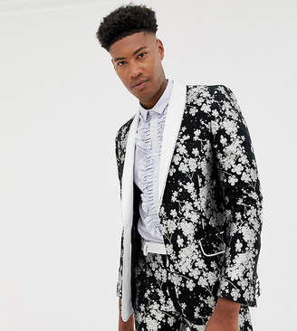 Asos EDITION Tall slim tuxedo suit jacket in monochrome floral jacquard
