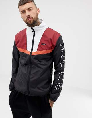 Nicce London lightweight jacket in black with contrasting panels