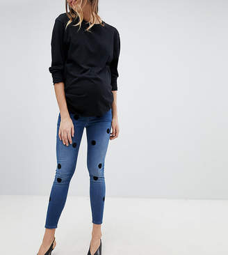 Asos DESIGN Maternity Ridley High Waist Skinny Jeans In Dark Stone Wash With Large Flock Spots