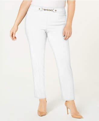 JM Collection Plus Size Chain-Trim Pull-On Pants