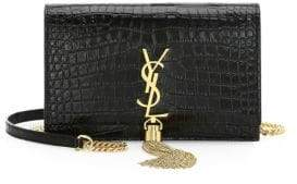 Saint Laurent Kate Crocodile-Stamped Leather Wallet