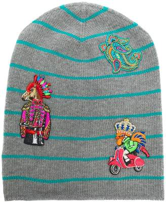 Etro striped embroidered beanie
