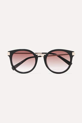 Le Specs Last Dance Round-frame Acetate And Gold-tone Sunglasses - Black