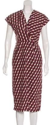Apiece Apart Pleated Geometric Print Midi Dress