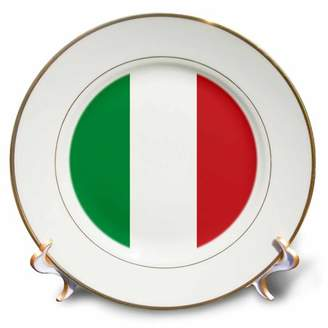 3dRose Flag of Italy square. Italian green white red vertical stripes European Europe World travel souvenir, Porcelain Plate, 8-inch