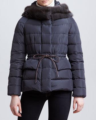 Moncler Fur-Trim Hip-Length Puffer Jacket, Charcoal