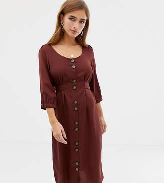 Vero Moda Petite square neck button front midi dress in brown
