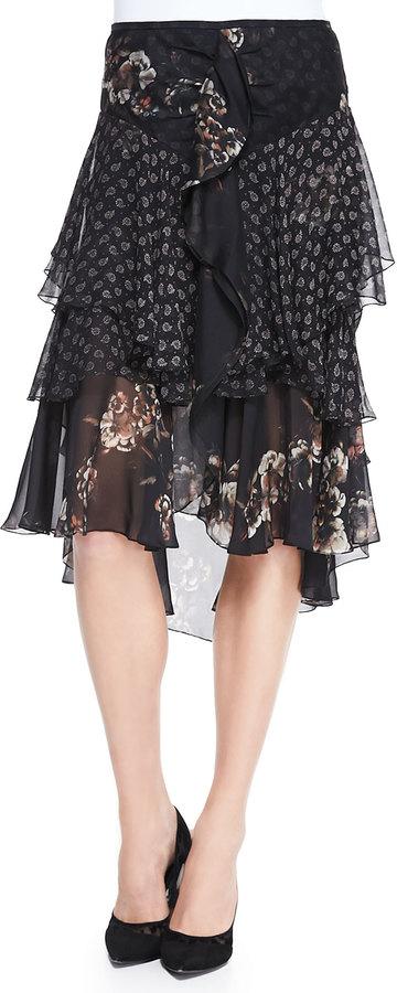 Jason Wu Combo-Print Silk Chiffon Midi Skirt
