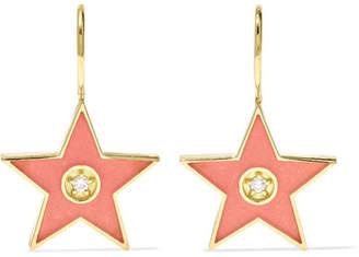 Andrea Fohrman 18-karat Gold, Diamond And Enamel Earrings - one size