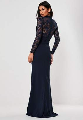 Missguided Petite Bridesmaid Navy Sheer Lace High Neck Maxi Dress