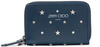 Jimmy Choo DANNY Indigo Leather Small Zip Around Wallet with Silver Flat Star Studs