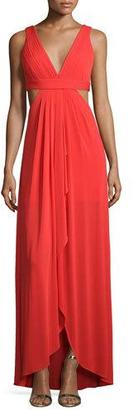BCBGMAXAZRIA Sleeveless V-Neck Gown W/Cutouts, Bright Red $368 thestylecure.com