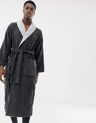 Polo Ralph Lauren terry shawl robe contrast collar and large player back logo in charcoal marl
