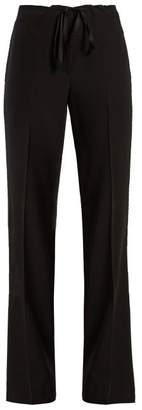 Bottega Veneta Wide Leg Wool Trousers - Womens - Black