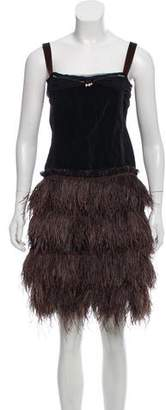 Lanvin Sleeveless Feather Mini Dress
