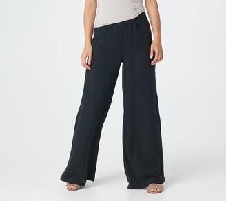 Lisa Rinna Collection Crinkle Gauze Full-Length Wide-Leg Pant