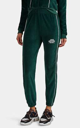 Visitor On Earth Women's Logo Cotton-Blend Velour Track Pants - Green
