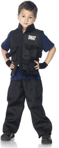Leg Avenue Costumes 2Pc.Swat Officer Multi Pocket Utility Vest Fingerless Gloves