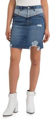 Jordache V-Front Ripped Denim Skirt