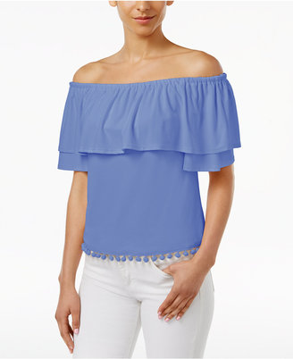 kensie Off-The-Shoulder Flounce Pom-Pom Top, a Macy's Exclusive Style $49 thestylecure.com