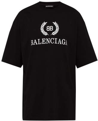 Balenciaga Bb Printed Cotton T Shirt - Mens - Black