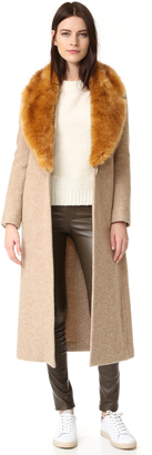 Helmut Lang Wool Coat with Faux Fur Collar $1,295 thestylecure.com