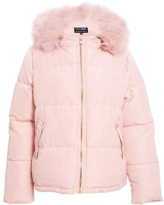 Quiz Pink Fur Trim Puffer Jacket