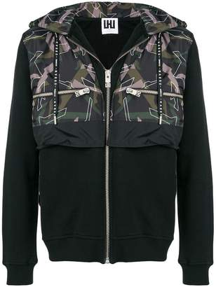 Les Hommes Urban patterned layered jacket