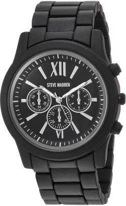 Steve Madden Men's Quartz Stainless Steel Dress Watch, Color: (Model: SMW094BK)