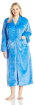 "Casual Moments Women's Plus Size 52"" V-Neck Zip Front Robe"