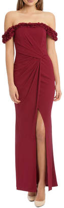 Lipsy Dark Red Ruffle Trim Bardot Maxi Dress