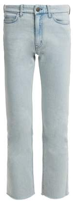 MiH Jeans Niki High Rise Slim Leg Cropped Jeans - Womens - Light Blue