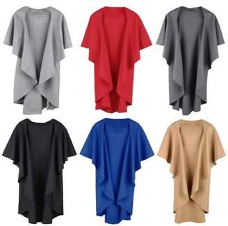 SZIVYSHI Fashion Women Warm Cape Coat Sleeveless Solid Color Shawl Ruffle Casual Poncho Cardigan Outerwear