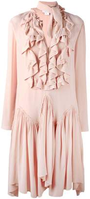 Chloé ruffled neck tie dress