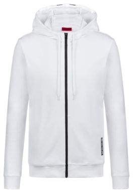 HUGO Boss Hooded sweatshirt in cotton large-scale cropped logo M White