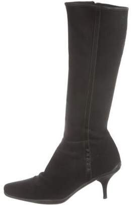 Prada Nylon Square-Toe Mid-Calf Boots Black Nylon Square-Toe Mid-Calf Boots