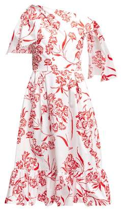 Carolina Herrera Stencil Floral Print Cotton Blend Midi Dress - Womens - Red White