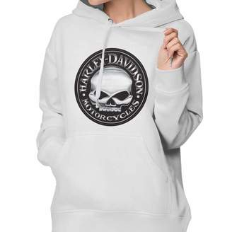 1b3078416 Harley-Davidson Hfaw Skull Women's Pullover Long Sleeve Hoodies Coat Loose  Casual Sweatshirts with Pocket