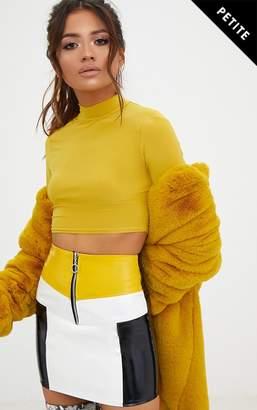 PrettyLittleThing Petite Yellow Contrast Vinyl Mini Skirt
