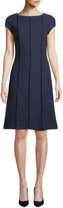St. John Ana Bateau-Neck Cap-Sleeve Boucle Knit A-Line Dress