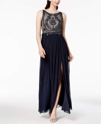 Adrianna Papell Embellished Lace Slit Gown