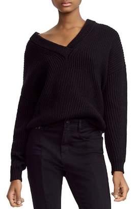 Maje Master Ribbed Knit V-Neck Sweater