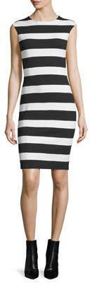 MICHAEL Michael Kors Cap-Sleeve Striped Sheath Dress