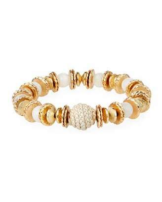 Akola Moonstone & Leather Bracelet, White