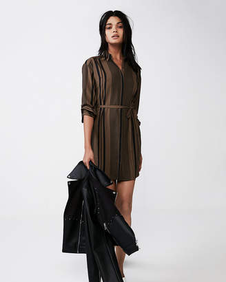 Express Striped Long Sleeve Tie Front Shirt Dress