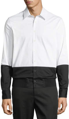 Neil Barrett Men's Two-Tone Rib-Hem Button-Down Shirt