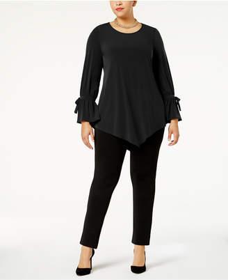 Alfani Plus Size Ruffled-Sleeve Pointed-Hem Blouse