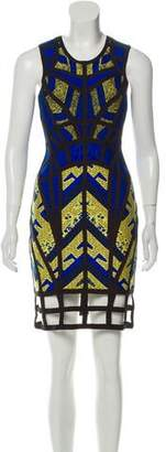 Herve Leger Karmelle Tribal Jacquard Cutout Dress
